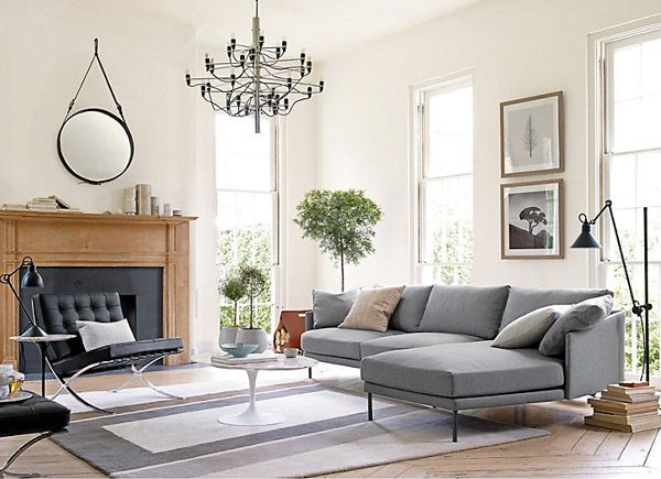 barcelona chair living room Saarinen cocktail table via DWR