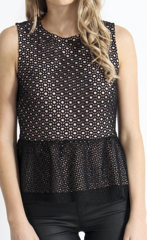 Lace Peplum Contrast Top | The fitted bodice of this style is contrasted against a peplum hem to provide a figure flattering look. The bodice and hem are cut from differently sized lace patterns for a subtle texture mix.