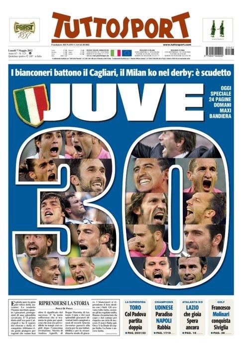 Tuttosport - Prima pagina 7 maggio 2012 - Juventus Campione d'Italia 2011-2012