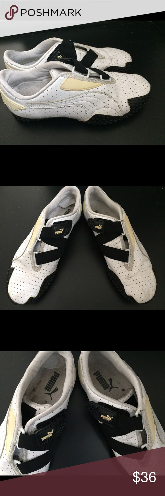 Puma Mostro Perf leather sneakers 7 White and black gently worn clean elegant sneakers Puma Shoes Sneakers