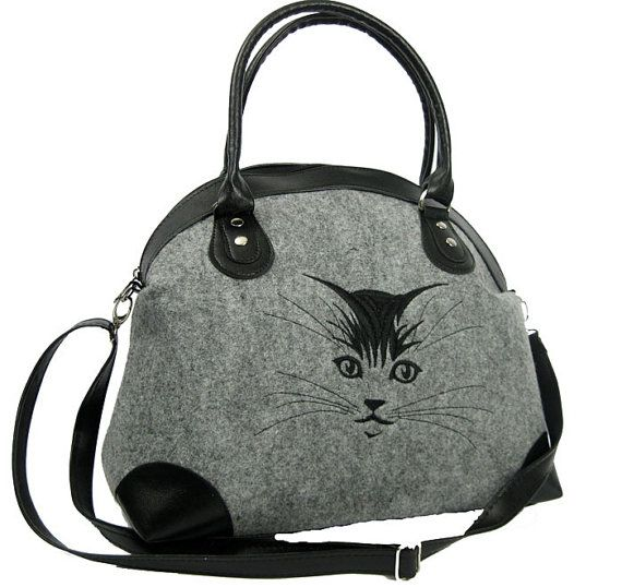 FELT CAT PURSEReady to ship  Cat bag Felt tote bag Felt