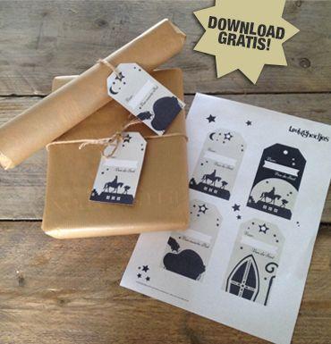 #DIY #Sinterklaas labels printable www.leukigheidjes.nl www.facebook.com/leukigheidjes