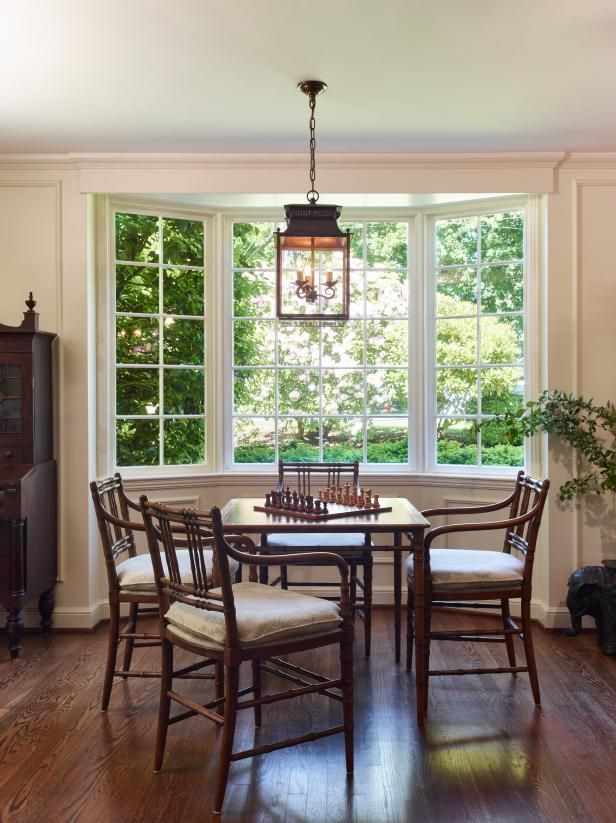 Game Table In Living Room The Inspired Room Living Room Table Bay Window Living Room Traditional Family Rooms