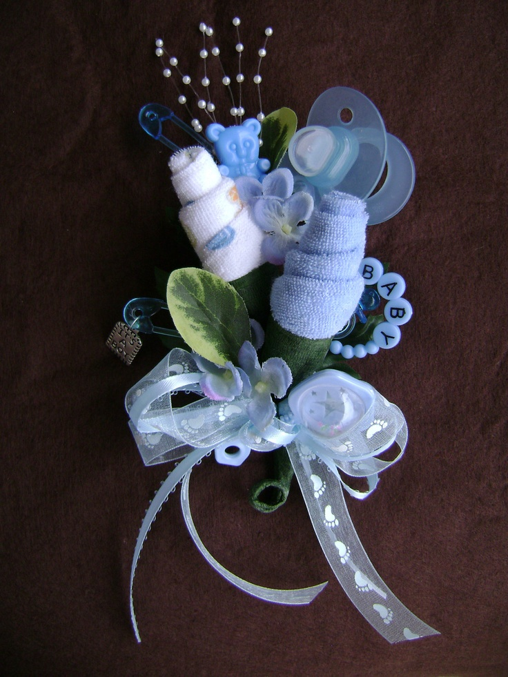 Baby Shower Corsage / Baby Boy Washcloth Corsage /Blue Baby Boy New Mom  Corsage / Reusable Sprinkle Corsage