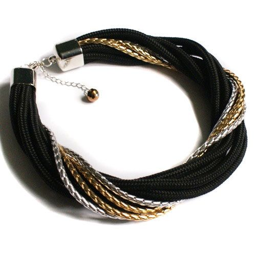 Items similar to BLACK rope statement NECKLACE - paracord necklace - black  - gold & silver leather cord - bib necklace - high fashion - fashion jewelry  on ...