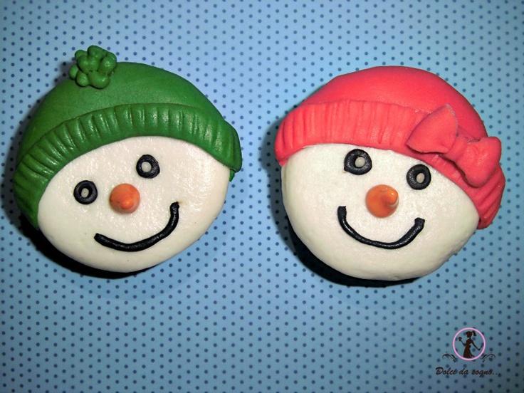 Dolci da sogno...: Come fare simpatici cup cake snow man