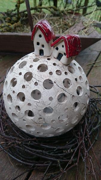 """Windlicht """"Häuserkugel"""" von Landei-Keramik auf DaWanda.com"""