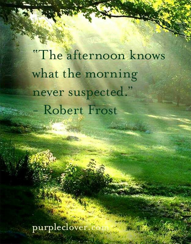 """""""The afternoon knows what the morning never suspected."""" - Robert Frost"""