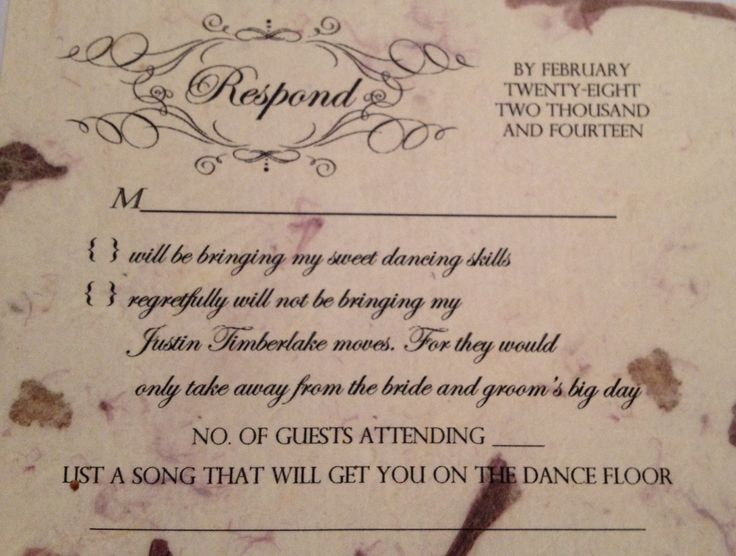 funny wedding rsvp card  took a week to think of something