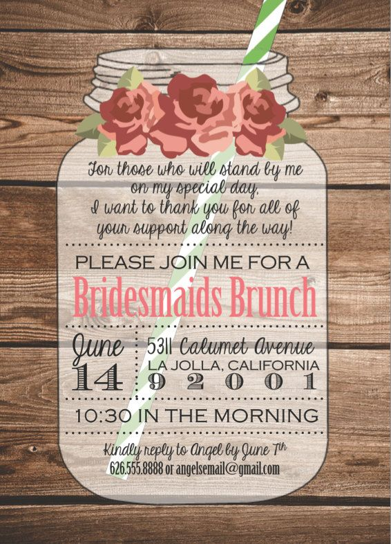 Shabby Chic Mason Jar Invitation