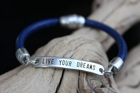 Leather Bracelet Silver Motivational Phrase Summer Trends May Gifts May Finds Mothers Day on Wanelo