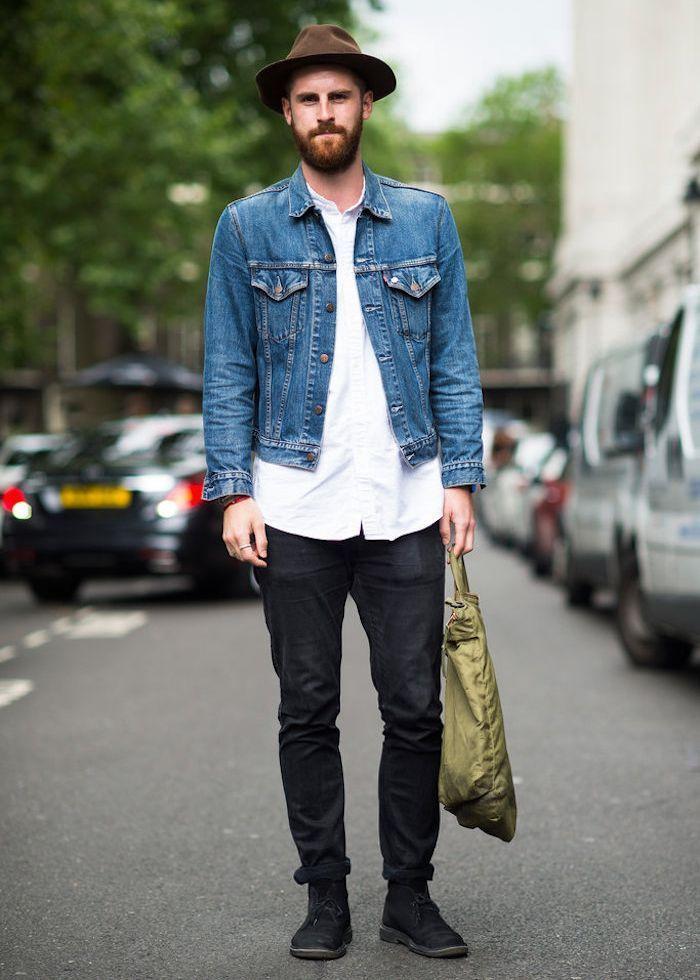 Veste classique en jean homme