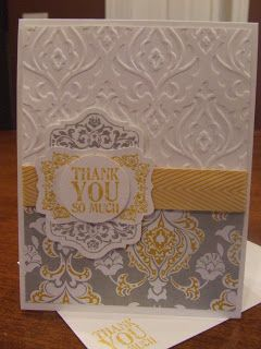 *Stampin' Up, by Amy Frillici, Gathering Inkspiration, order products online at amysuzanne.stampinup.net, chalk talk framelits, chalk talk stamp set, hello lovely stamp set, lots of thanks stamp set, crushed curry chevron ribbon, beautifully baroque impression folder
