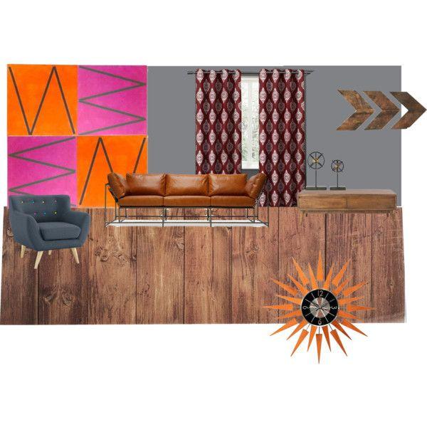 habitacion estilo mid century by mer-pi on Polyvore featuring interior, interiors, interior design, hogar, home decor, interior decorating, Stephen Kenn, Home Decorators Collection, Typhoon and WALL
