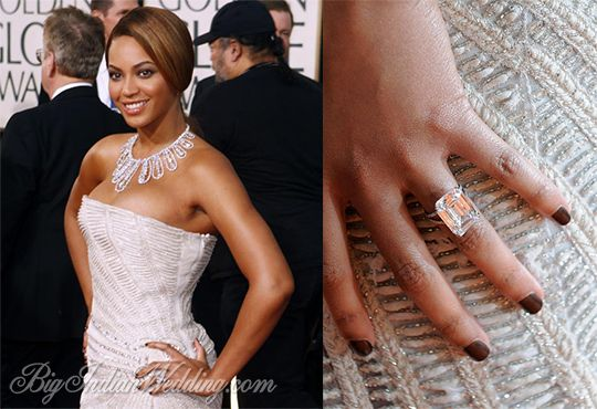 Beyonce Knowles' most expensive engagement ring.  The Loraine Schwartz 18 carat emerald cut flawless diamond set in platinum cost a whopping $5 million.