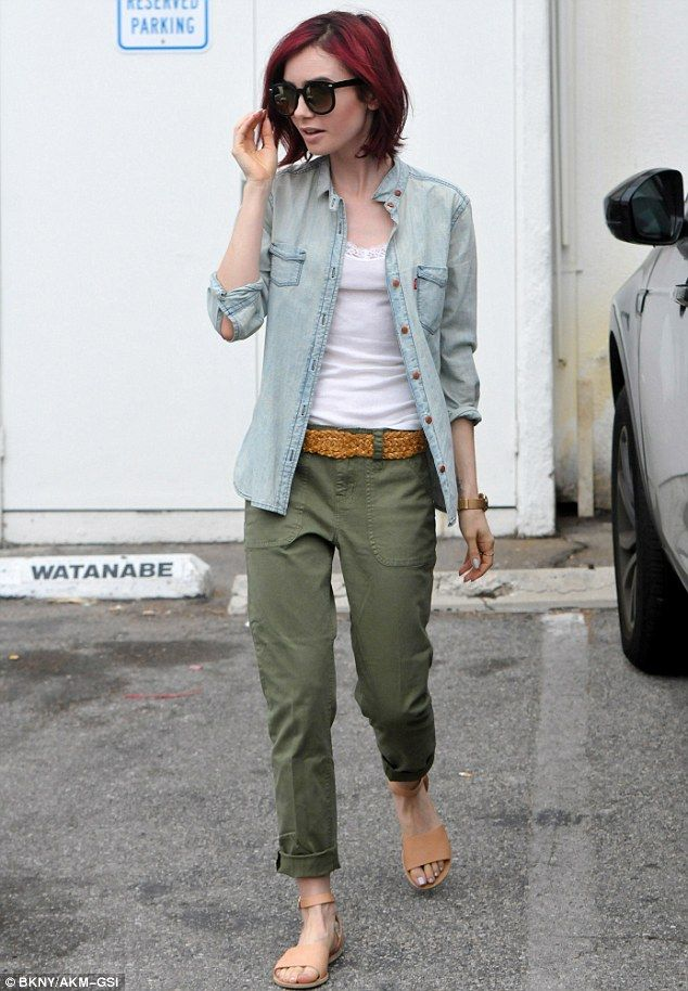 Casual chick: Lily Collins stepped out looking safari chic for errands in Beverly Hills on Wednesday