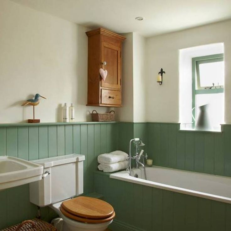 Bathrooms with wainscoting green interiors pinterest for Wainscoting bathroom ideas