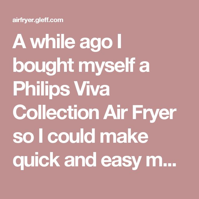 A while ago I bought myself a Philips Viva Collection Air Fryer so I could make quick and easy meals that were healthier than normal fried foods.  I've been so impressed that I decided to buy the larger Philips Avance Collection AirFryer XL and I absolutely love it.  The Air Fryer excels when you cook frozen foods such as chips, chicken nuggets, spring rolls and just about anything you can think of. Not so sure about Pizza….. Mmmm Pizza. I absolutely love my Philips Avance Collection…