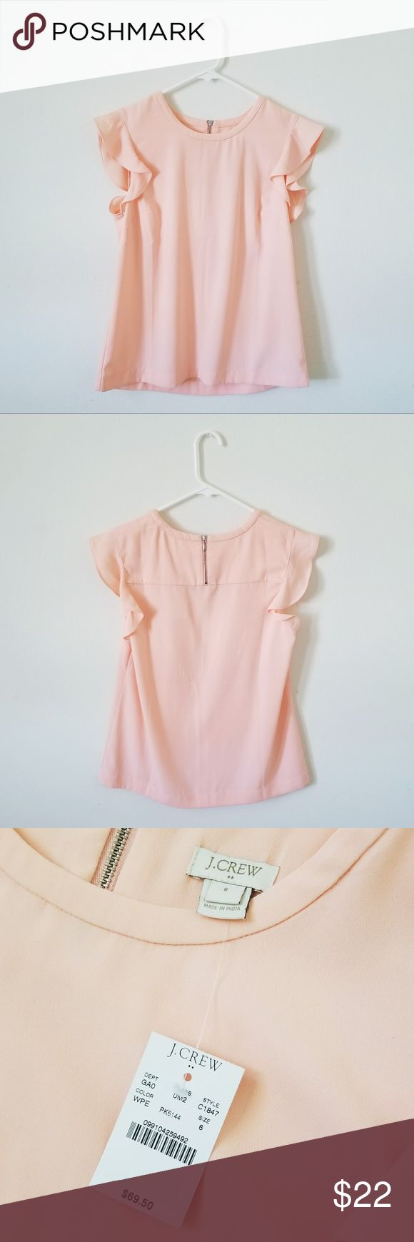 NWT J Crew Factory Flutter Sleeve Top +New with tags. +Women's size small/US 6. +Color is slightly more vibrant in real life. +Excellent condition. +Style: C1847 J. Crew Factory Tops