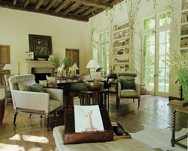 Love this room and the doors and vines...  From Rose Tarlow's home in California