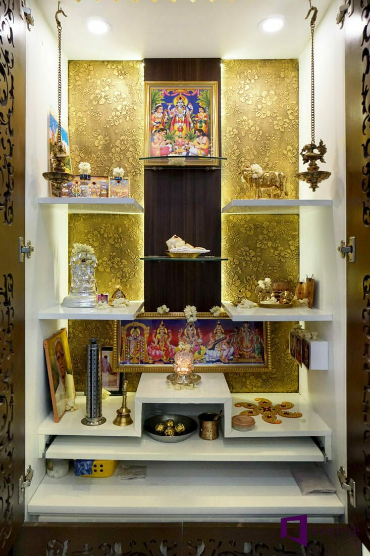 9 Traditional Pooja Room Door Designs In 2020: GOPINATH's APARTMENT IN SUMADHURA SILVER RIPPLES,BANGALORE