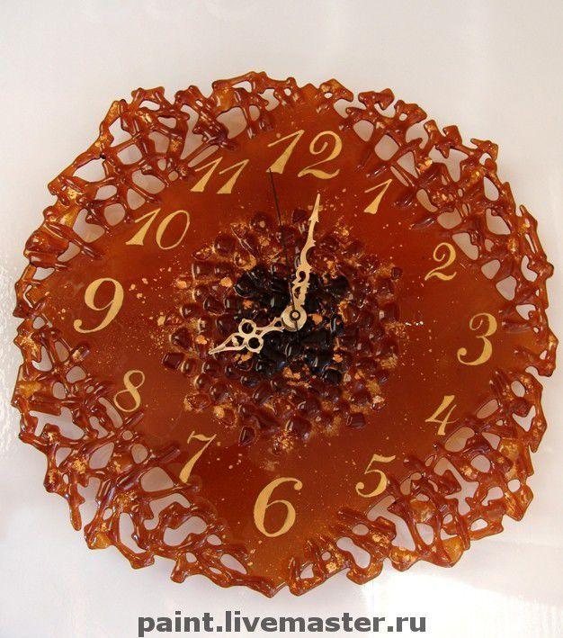 Купить Часы Золотая лихорадка-фьюзинг - золотистый, часы, настенные часы, интерьер, часы стеклянные