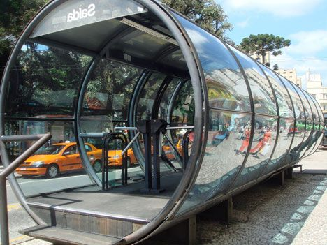 bus stop in Curitiba, Brazil -  one of the moest sustainble cities in the world. Proud of this city, need to visit soon!