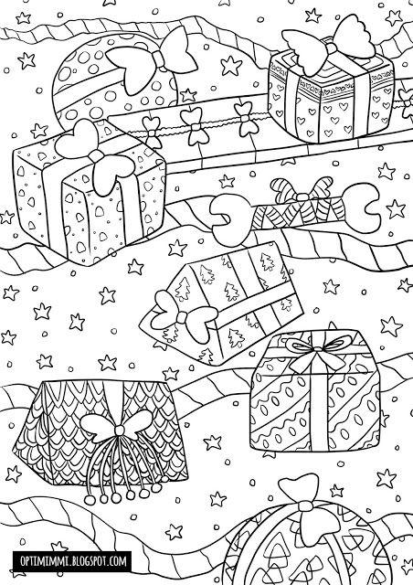 OPTIMIMMI | A free printable Christmas-themed coloring page of gifts / Ilmainen tulostettava jouluinen värityskuva lahjoista
