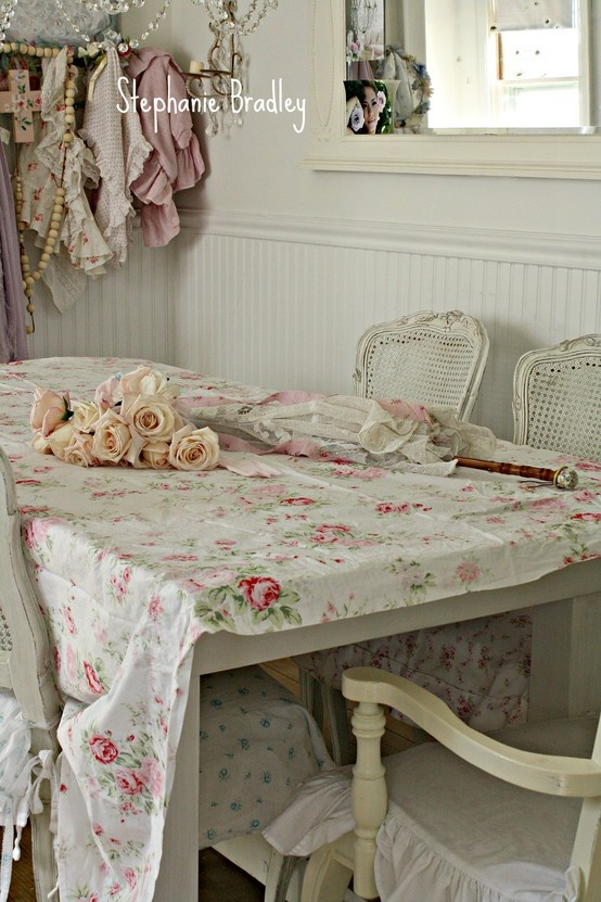 rachel ashwell fabric light pink roses and a parasol i returned back to life by sewing tambour. Black Bedroom Furniture Sets. Home Design Ideas
