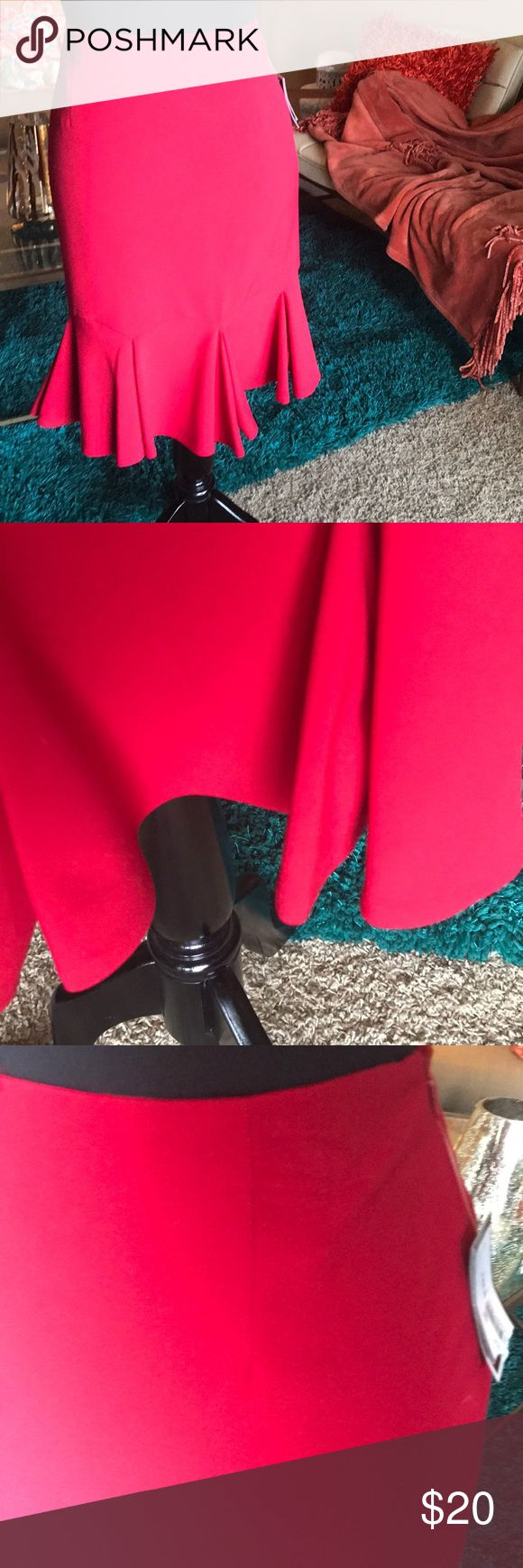 NINE WEST, fire red, tulip skirt,sz 4 NINE WEST SZ 4 NWT , red tulip stretch tulip skirt Nine West Skirts
