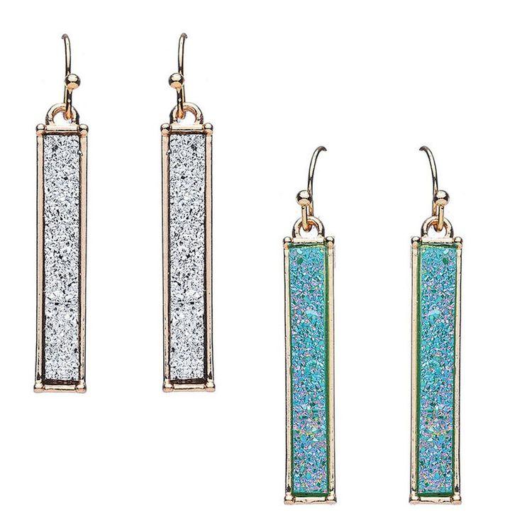 Druzy Stone Fish Hook Earrings