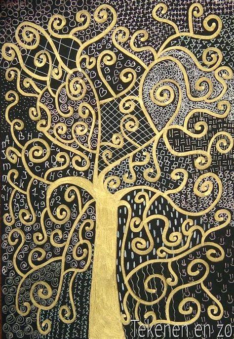 Levensboom in de stijl van Gustav Klimt Zwart papier met goudstift en metallic gelpennen