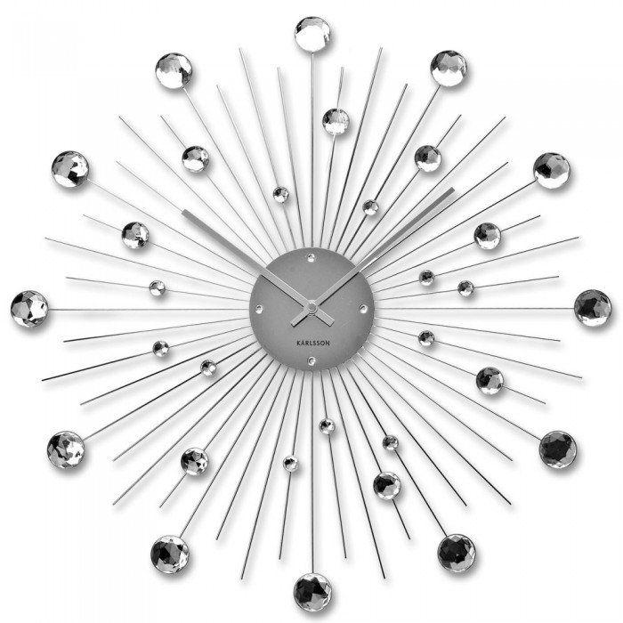 Karlsson Sunburst Large Wall Clock Silver Sunburst Clock Contemporary Wall Clock Big Wall Clocks