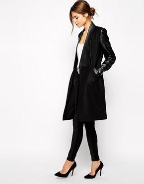 Image 1 - Ted Baker - Manteau avec empiècements en cuir