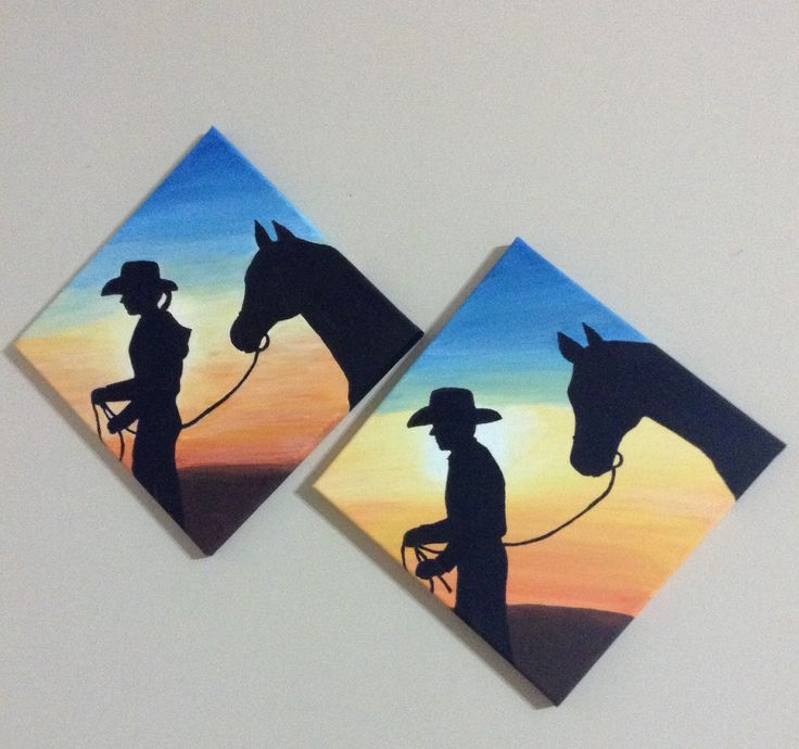 "I call this set of paintings ""Homeward Bound"". Cowboy and cowgirl walking their horses the last stretch home after joyriding at sunset. Acrylic on Canvas. Artwork by: Anna Reimer"