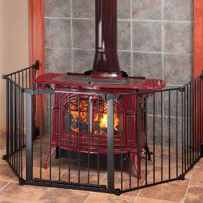 Baby gate for fireplace or woodburning stove. Attaches to the wall & looks nice!