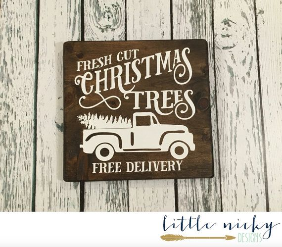 Fresh Cut Christmas Trees Vintage Truck Sign by LittleNickyDesigns