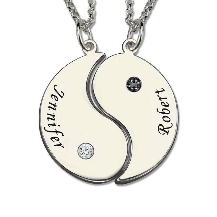 Wholesale Rose Gold Yin Yang Necklace Engraved Couple Name Pendant Yin Yang Valentine's Day Gift  #me #instafashion #inspiring #need #classic