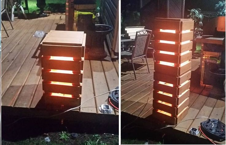 Deck Lights Made from Pallet wood . Can be stacked or single and can double as a place to sit