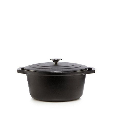 Home Collection Black 24cm cast iron casserole dish | Debenhams