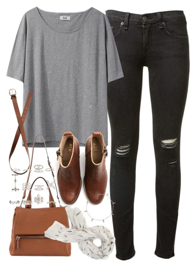 U0026quot;Outfit with ripped jeans for collegeu0026quot; by ferned on Polyvore featuring rag u0026 bone Acne Studios ...