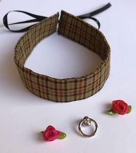 Halsband Damen kariert Steampunk 32cm x 3cm wahlweise mit O-Ring oder Rose  | eBay