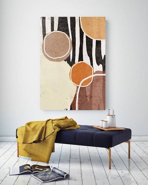 Goose. Geometrical Abstract Art, Wall Decor, Extra Large Abstract Black Brown Zebra Contemporary Canvas Art Print up to 72″ by Irena Orlov