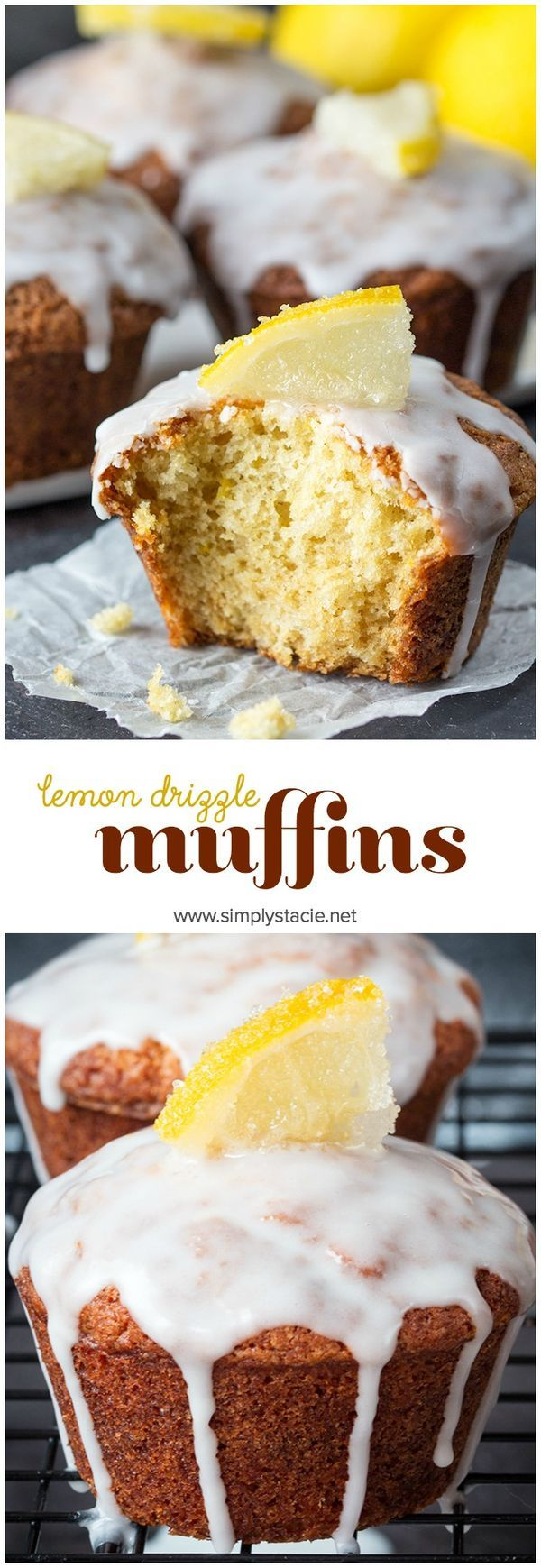 Lemon Drizzle Muffins - Zesty lemon muffins, topped with a lemon glaze and finished off with little slices of sugared lemons. Yum!