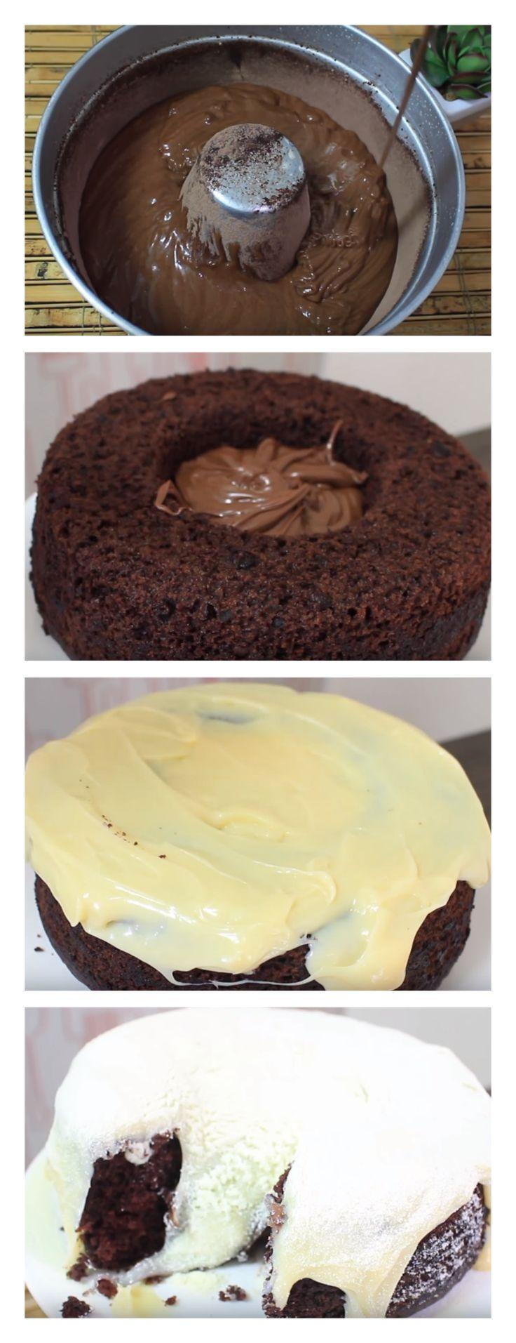 Bolo Vulcão de Leite Ninho com Nutella salve esse Pin A Receita de Bolo Vulcão de Leite Ninho com Nutella é fácil de fazer e fica um espetáculo. A massa do bolo vulcão de leite ninho é de chocolate #bolo#torta#doce#sobremesa#aniversario#pudim#mousse#pave#Cheesecake#chocolate