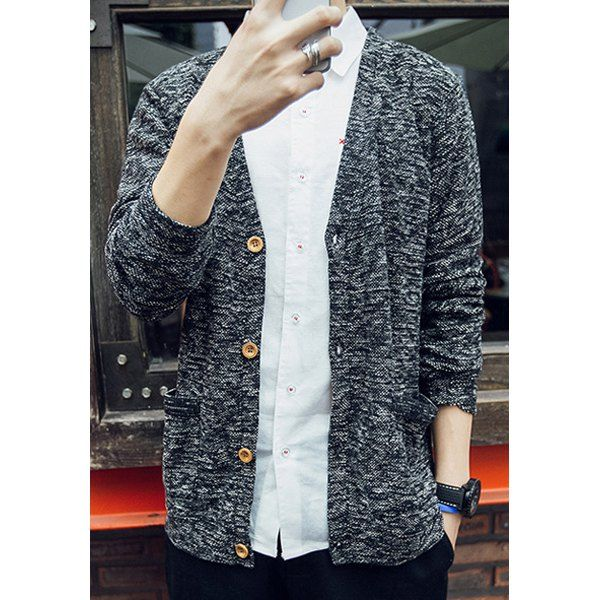 Assorted Color Double Pocket Single-Breasted V-Neck Long Sleeves Men's Vogue Cardigan