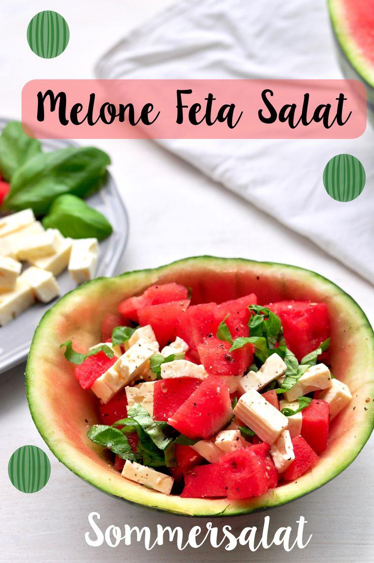Leckeres Rezept für einen Melone Feta Salat. Perfekt als Sommersalat zum Grillen!