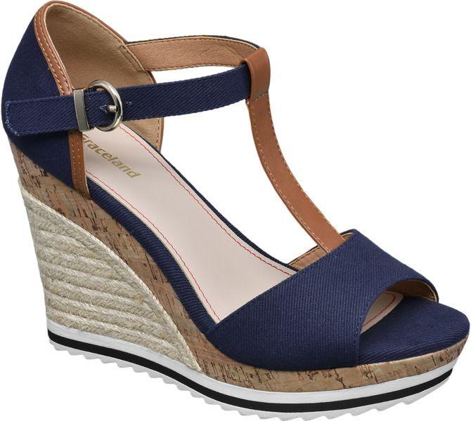 ... die blaue Keil Sandalette von Graceland Sie ist aus robustem Textil in  einem intensiven Dunkelblau gearbeitet und vorne offen hinten geschlossen  designt ...