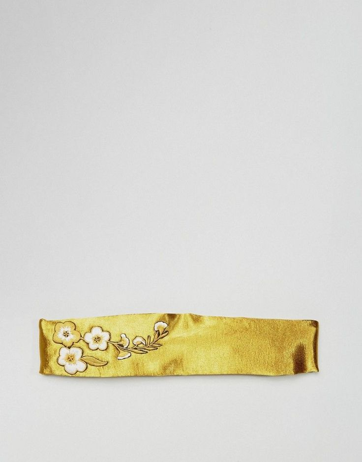 ASOS Embroidered Floral Hairband - Gold