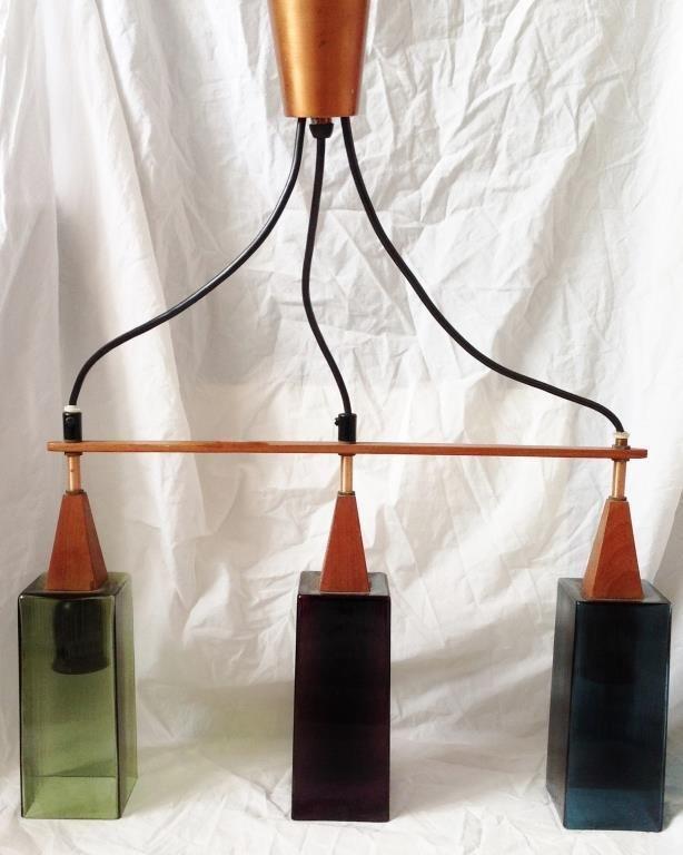 Retro / Art Deco taklampa i teak & koppar med färgat glas